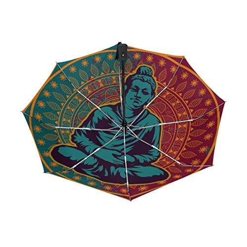 Elephants Parasol Art T-shirt - Buddah Buddhism Buddhist Zen Art UPF 50+ Anti-UV Parasol Waterproof Windproof Reverse 3 Folds Auto Open Close Lightweight Umbrella