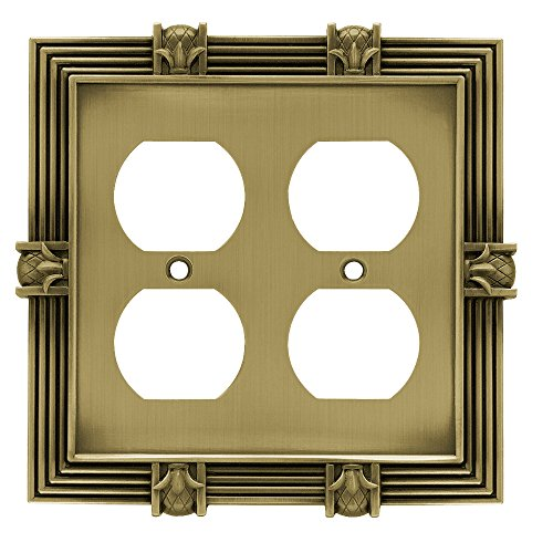 Franklin Brass 64468 Pineapple Double Duplex Outlet Wall Plate/Switch Plate/Cover, Tumbled Antique Brass (Double Duplex Solid Brass)
