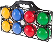 Hey! Play! Beginner Bocce Ball Set with 8 Colorful Bocce Balls, Pallino and Carrying Case- Classic Outdoor Gam