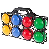 Hey!Play!! Beginner Bocce Ball Set with 8 Colorful Bocce Balls, Pallino and Carrying Case- Classic Outdoor Game for Kids, Adults and Family