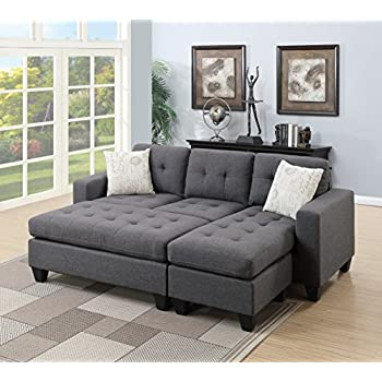 modern living room bobkona all in one sectional blue grey polyfiber reversible sectional sofa chaise pillows