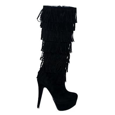 2d65a35c0a Amazon.com | shoewhatever Faux Suede Fringe Platform High Heel Boots | Boots