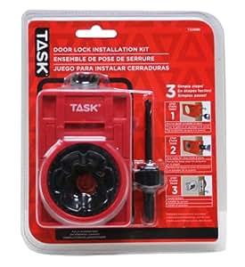 Task Tools T22089 Metal Wood Door Lock Installation Kit With Bimetal Hole Saw Blades