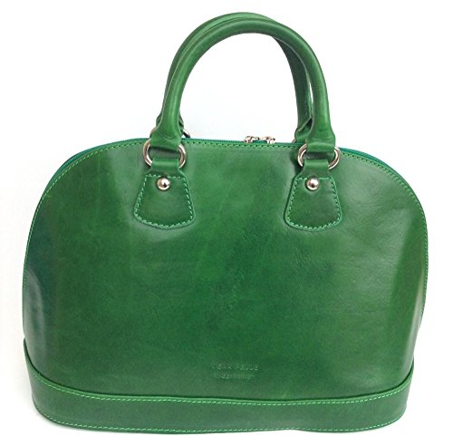 SUPERFLYBAGS Borsa Bauletto in vera pelle Tamponato modello Madrid Made in Italy verde