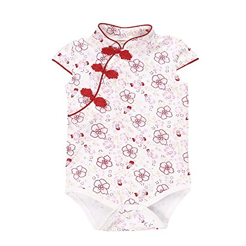 Fairy Baby Baby Girl Cheongsam Dress Short Sleeve Formal Qipao Bodysuit,9-12M,Red Floral -