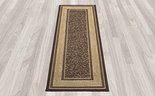 Ottomanson Ottohome Collection Contemporary Bordered Design Non Skid Non Slip Rubber Backing