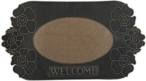 Superio Non-Slip Welcome Doormat for Entry, Indoor Outdoor, Heavy Duty, Waterproof, Easy Clean, Low-Profile Mats for Entry, Garage, Patio, High Traffic Areas, Beige Flower, 18 x31