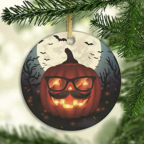 Hipster Halloween Ideas 2019 (128 buyloii Halloween Hipster Pumpkin Glasses Moon BatOrnament (Round) Personalized Ceramic Holiday Christmas Ornament Ideas)