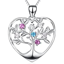 Angel caller Tree of Life 925 Sterling Silver Necklace Colorful Birthstone Eternal Love Heart Pendant For Family Member
