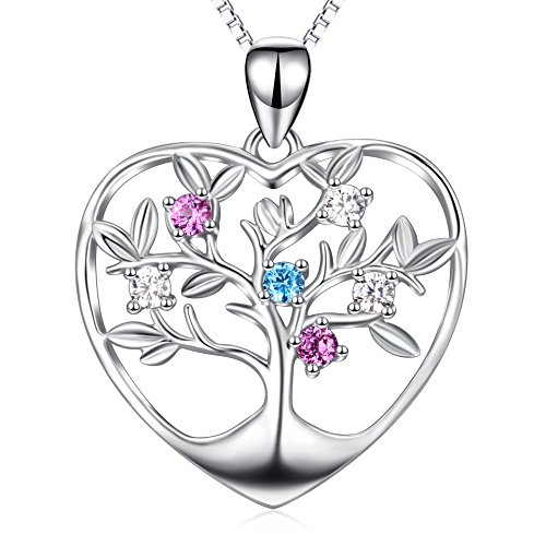 """""""Tree of Life"""" Pendant Jewelry 925 Sterling Silver Colorful Birthstone Eternal Love Heart Necklace For Family Mmber"""