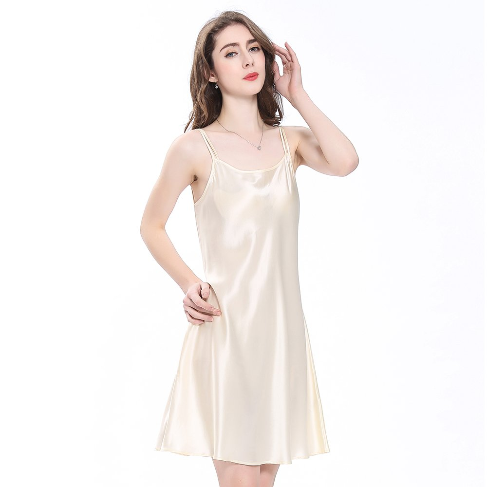 53eac176b288b LilySilk Silk Nightgowns for Women's 22 Momme 100% Mulberry Charmeuse Mini  Scoop Neck at Amazon Women's Clothing store: