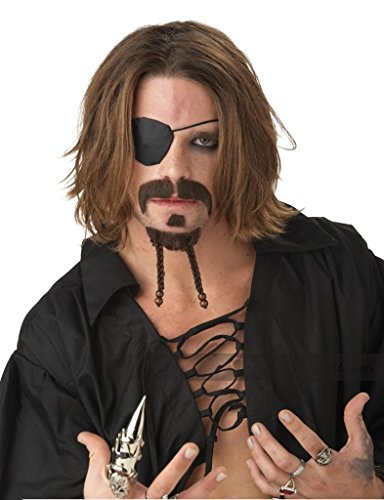 Sexy Pirate Hair (Adult Rogue Pirate Mustache and Goatee)