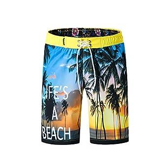 c2b34f990f ZhixiaYS Mens Breathable Swimwear Palm Tree Print Slim Shorts Casual Beach  Short Swim Trunks | Amazon.com