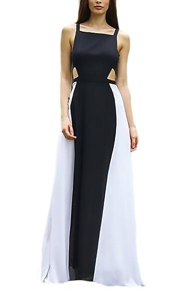 Otoño Vestido Mujer Vestido De Noche Largos Moda Hermoso Negro Splice Sencillos Especial Blanco Vestido Coctel Sling Espalda Descubierta Elegantes Único ...