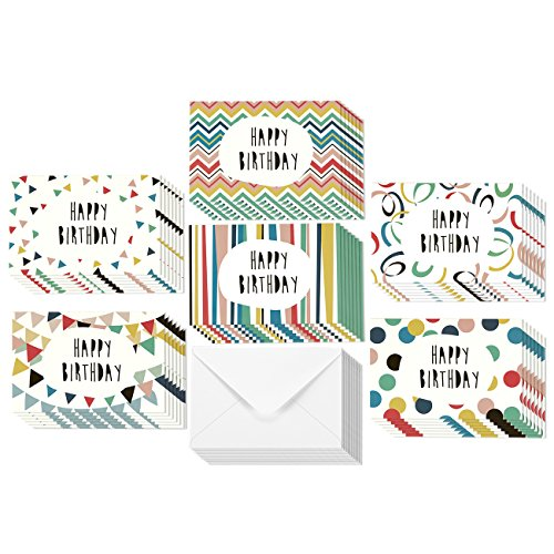 48 Pack Happy Birthday Greeting Cards, 6 Colorful Doodle Designs, Bulk Box Set Variety Assortment, Envelopes Included 4 x 6 Inches - Happy Birthday Greetings