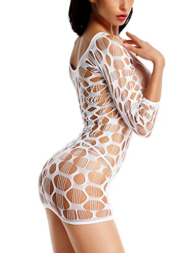 Amoretu Women Lingerie Fence Mesh Holes Fishnet Chemise Mini Dress White (White Fishnets)