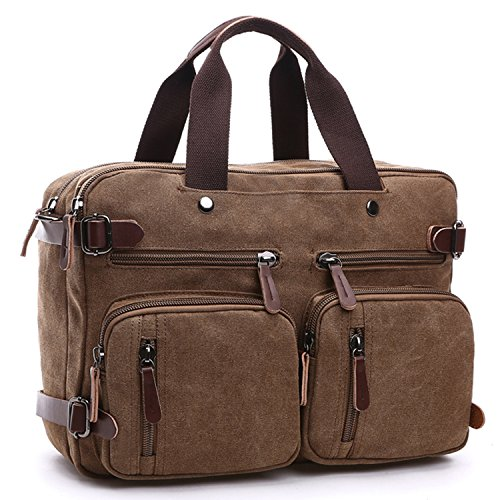 Laptop Messenger Shoulder Bags Leather Backpack Men's Briefcase Women's Handbags Sports Outdoors Gym Bags fits to 14 Inch Tablet Notebook by Fresion (3 in 1 Carry-ons, Brown) Brown