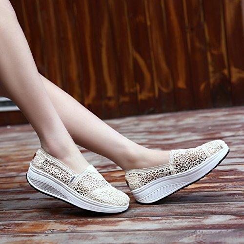 Femme Ups Sandale Été Shape Travail Respirantes Compensées Sneakers Chaussures Casual Baskets Beige Sport xXEXqCwHO