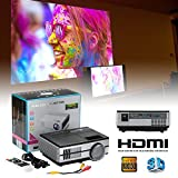 Cewaal 3D Lumens LCD Mini Projector, Multimedia Home Theater Video Projector Support 1080P HDMI USB SD Card VGA AV for Home Cinema TV Laptop Game iPhone Andriod Smartphone with Free HDMI Cable