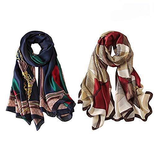 Fonshow Silk Scarf 100% Mulberry Silk Fashion Scarves Long Lightweight Shawl Wrap (6727)