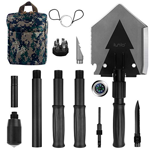 IUNIO Military Portable Folding Shovel 38 inch Length with Pickax Carrying Bag Multitool Spade for Camping Backpacking Entrenching Car Emergency