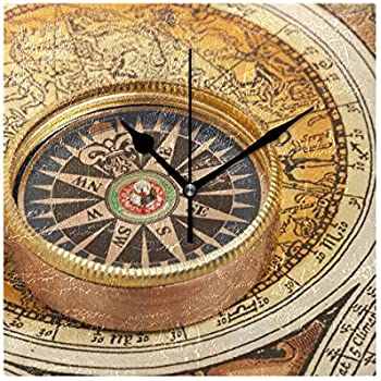 CoolPrintAll Vintage Old World Map 7.87 Inch Decorative Wall Clock, Quartz Battery Operated Home/Office/School Clock
