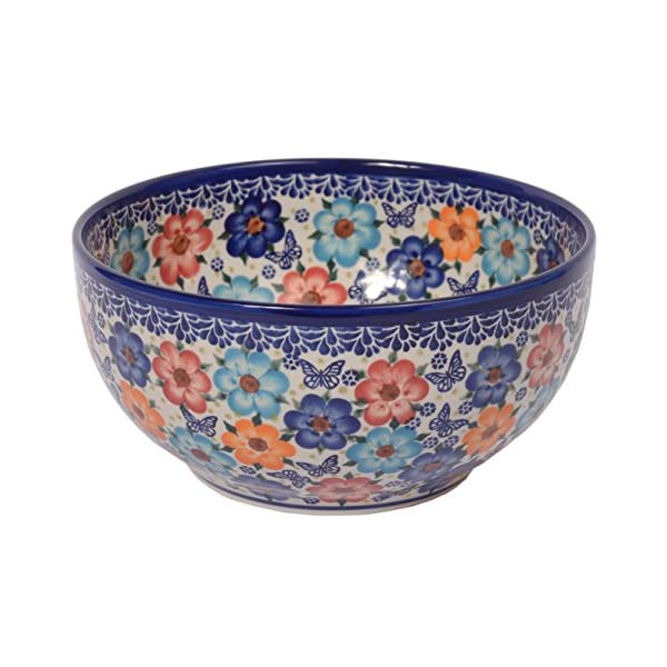 Traditional Polish Pottery, Handcrafted Ceramic Salad or Fruit Bowl 2.8l (d.24cm), Boleslawiec Style Pattern, M.705.Meadow