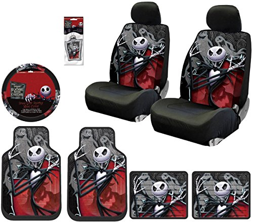 Plasticolor 10 Piece Nightmare Before Christmas Jack Skellington Ghostly Design Floor Mats, Seat Covers, Steering Wheel Cover Set with Bonus Air Freshener for Your Car Truck or SUV]()
