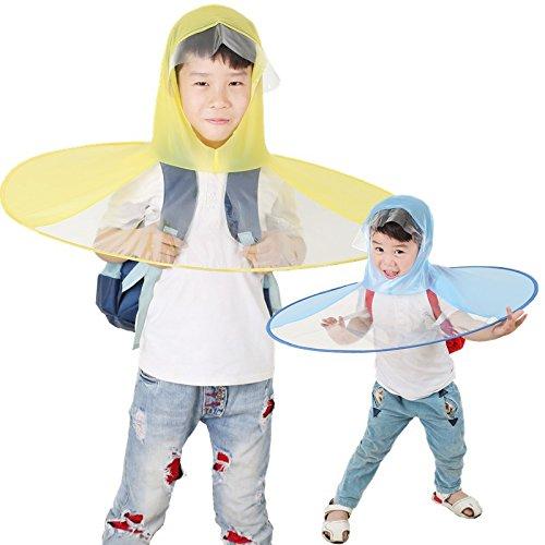 Creative Umbrella-NACOLA Kawaii Cute UFO Waterproof Hands Free Umbrella Rain Hat Headwear Cap Raincoat For Outdoor Fishing Golf Kids Child (Girl With Umbrella)