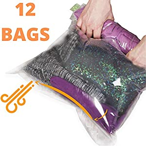 12 Travel Storage Bags for Clothes – Compression Bags for Travel – No Vacuum or Pump Sacks-Save Space in your Luggage…
