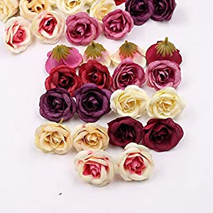 Artificial Flowers Heads in Bulk Wholesale for Crafts Silk Rose Wedding Home Decoration Furnishings DIY Party Festival Decor Wreath Sheets Handicrafts Simulation Fake Flowers 30pcs 4cm 101
