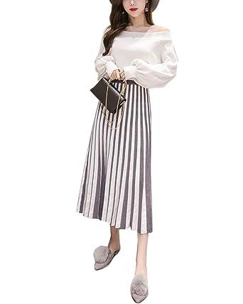 Liangzhu Falda Plisada Larga para Mujer, Falda Casual Raya Mujeres ...