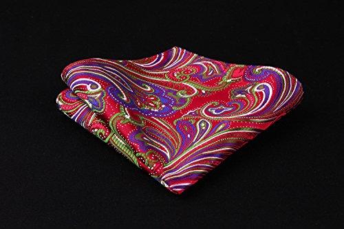Floral Pocket Square Set Red amp; Wedding Tie Handkerchief Green Paisley Men's Necktie HISDERN UWqd8Cnzd