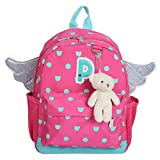 Girls Angel Wing Backpack Kids Cute Toddler School Bag with Bear Key Chain (Pink)