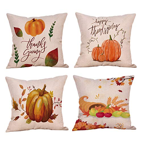 Suptee 4 Pack Pumpkin Pillow Cover Autumn Flowers Leaves Decorations Cotton Linen Throw Pillow Case for Thanksgiving Fall Harvest Home Decoration (18 x 18 inch) (Colorful)