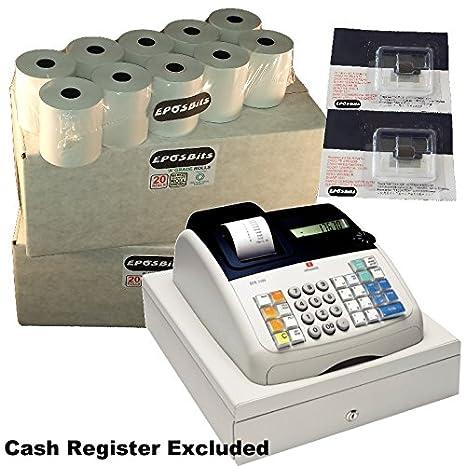 eposbits® marca 40 rollos + 2 x de tinta para máquina de escribir Olivetti ecr7100 ECR 7100 Caja registradora: Amazon.es: Oficina y papelería