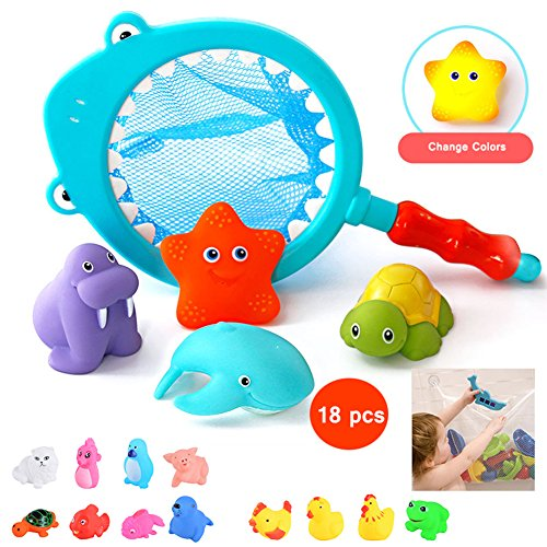 Lamayal 18pcs Floating Fish Animals Net with Toddler Bath Toy Organizer Pool Party Toys for Kids Boys Girls by Lamayal