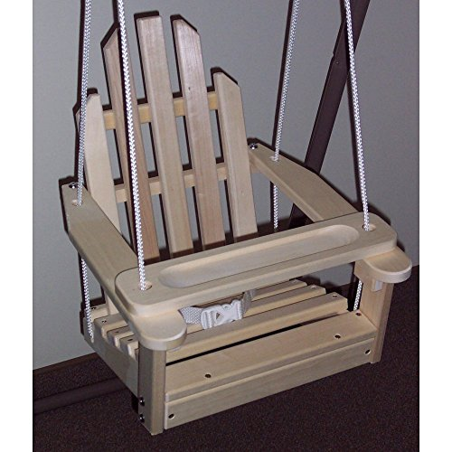Unfinished Children's Adirondack Swing - Rope & Seat Belt Included - Weather Resistant Aspen Wood -16 Inches square x 20 inches High - Made in USA – - Unfinished Swing