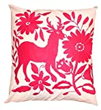 Del Mex Hand Embroidered OTOMI Throw Pillow Cover 18'' by 18'' Mexican (Pink 2)