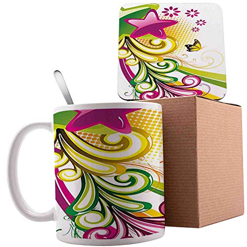 - Colored Shooting Stars Butterflies and Swirls with Floral Space, Hot Pink Yellow Green;Ceramic mug with Spoon & Coaster Creative Morning Milk Coffee Tea Porcelain 11oz gifts for family