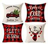 country christmas decorations Kithomer Set of 4 Christmas Decorations Pillow Covers Christmas Buffalo Plaid Farmhouse Decor Throw Pillow Cases Retro Truck Cushion Cover 18 x 18 Inch Home Decoration