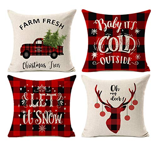 Kithomer Set of 4 Christmas Decorations Pillow Covers Christmas Buffalo Plaid Farmhouse Decor Throw Pillow Cases Retro Truck Cushion Cover 18 x 18 Inch Home Decoration