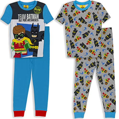 (LEGO Batman Big Boys' Pajama, 4 Piece PJ Set, Short Sleeve,Long Pants, Blue, 6)