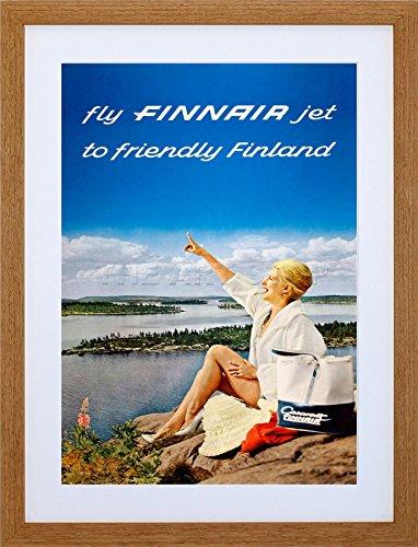 - FINNAIR Finland Scenic Lake Airline Airplane Vintage Framed Art Print F12X1374