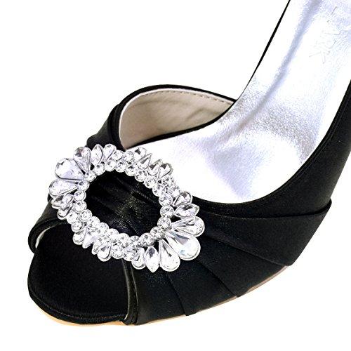 Pumps Satin Brooch Women Heel ElegantPark Toe High Rhinestones Shoes Bridal Wedding Black Peep qURWO