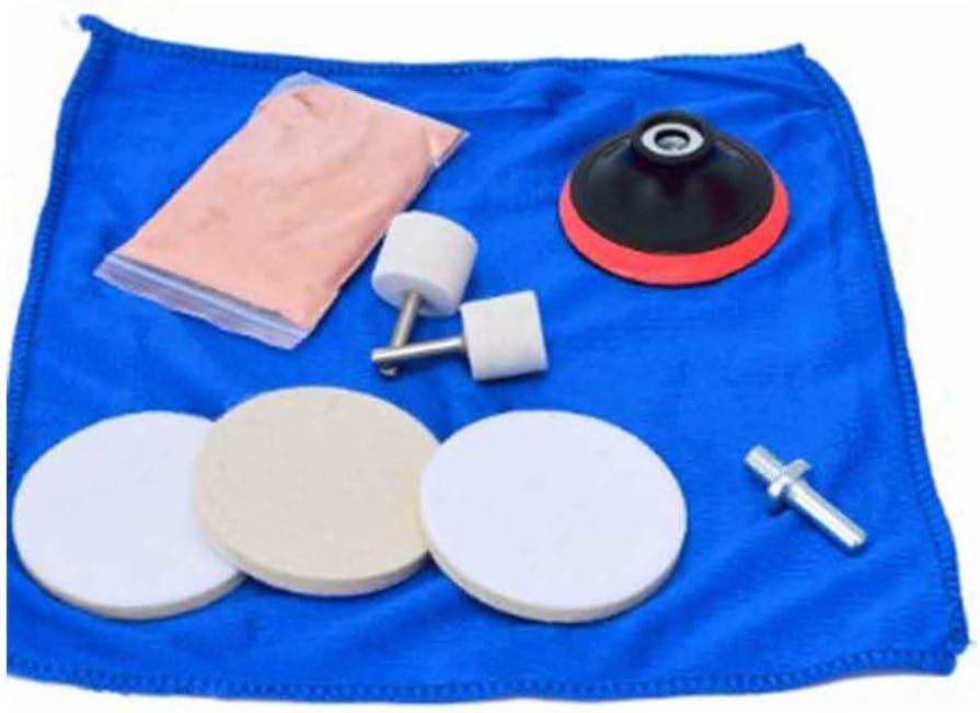 Kit de pulido de cristal para coche de 9 piezas para quitar arañazos reloj de coche almohadilla de óxido de cerio polvo de vidrio set herramienta: Amazon.es: Jardín