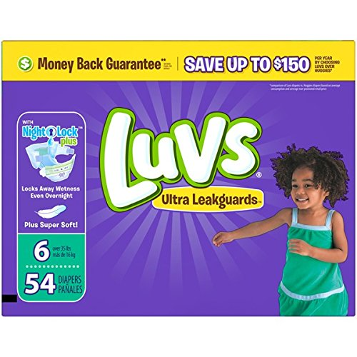 Luvs Ultra Leakguards Diapers, Size 6 (Over 35 Lb), 54 Count