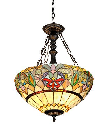 Chloe Lighting CH33360VR18-UH2 Hester, Tiffany-Style Victorian 2-Light Inverted Ceiling Pendent, 18-Inch, Multi-colored - Inverted Pendent