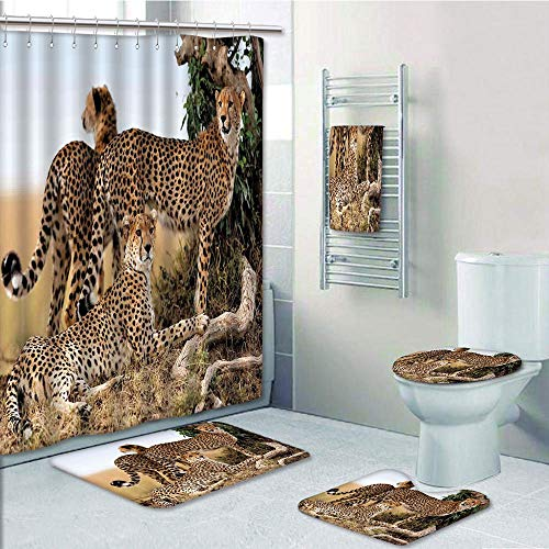 Bathroom 5 Piece Set shower curtain 3d print Multi Style,Wildlife Decor,Cheetahs Mother and Two Young Baby Looking for Food Dangerous Exotic Animals,Tan Black,Bath Mat,Bathroom Carpet Rug,Non-Slip,Bat by iPrint