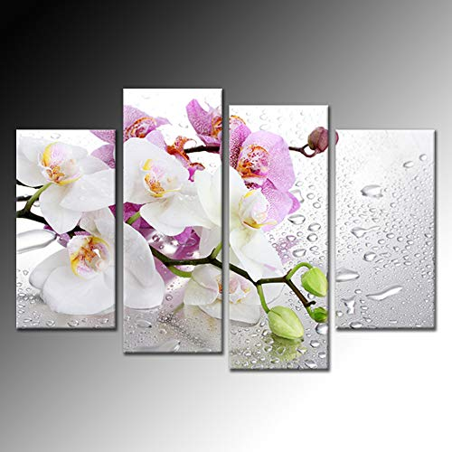 (Hello Artwork 4 Panels Beautiful Butterfly Orchid Flowers Canvas Print for Home Decoration Painting Wall Art Picture Print on Canvas for Living Room Wall Decor Ready to Hang)